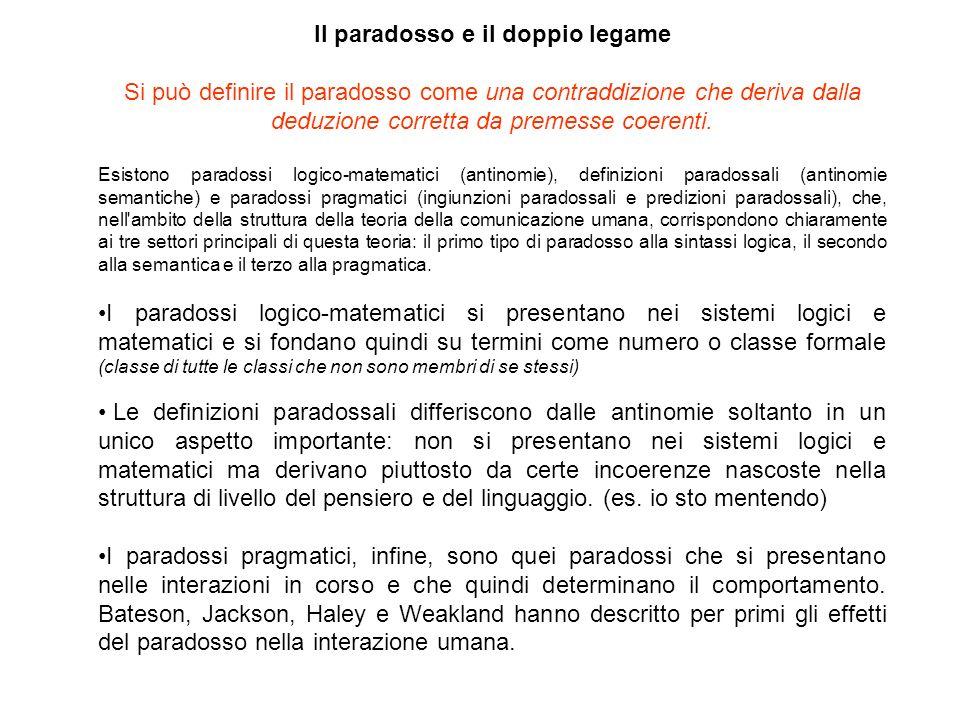 Il paradosso e il doppio legame