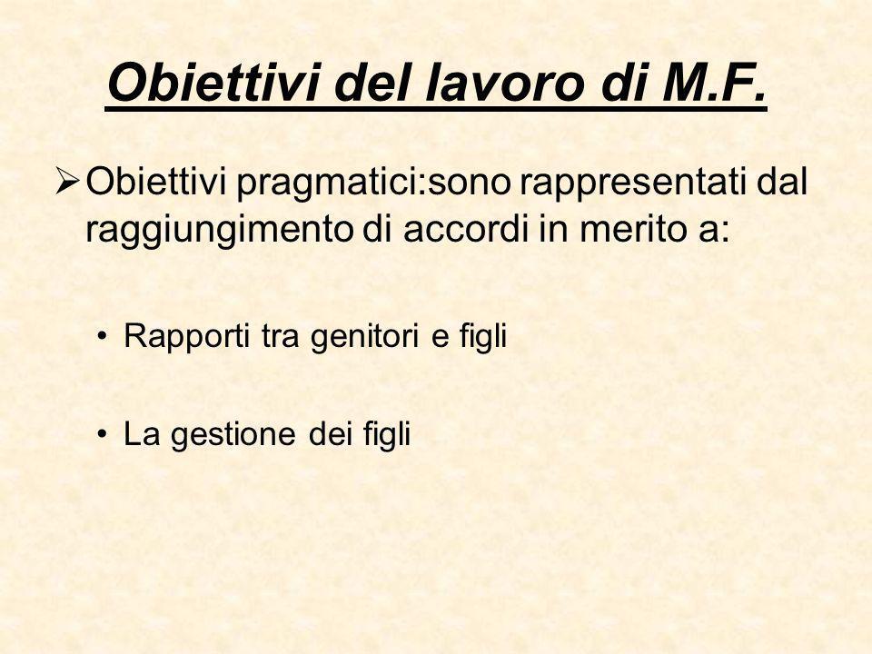 Obiettivi del lavoro di M.F.