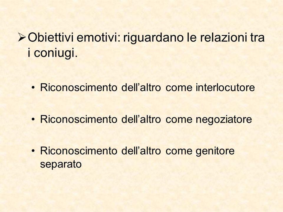 Obiettivi emotivi: riguardano le relazioni tra i coniugi.