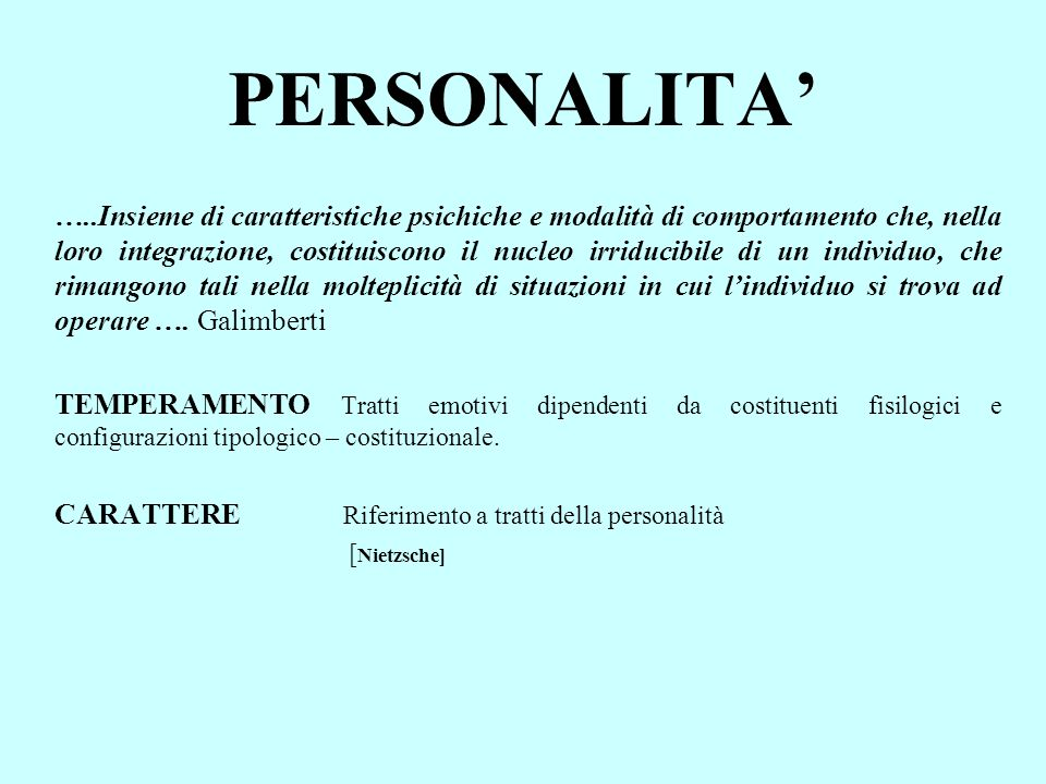 PERSONALITA'