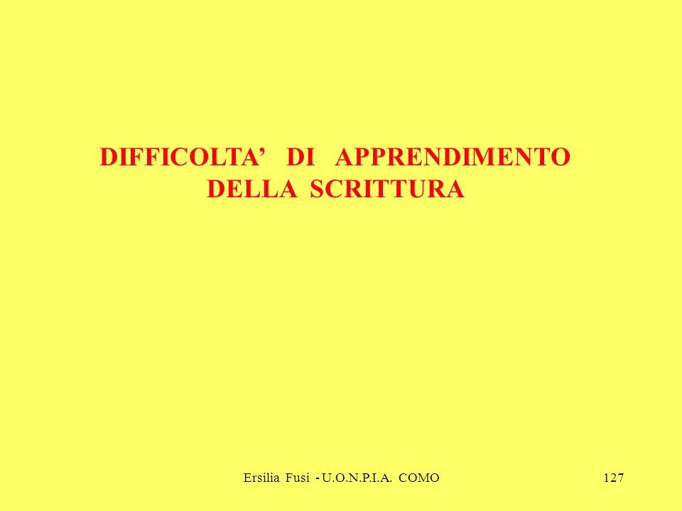 DIFFICOLTA' DI APPRENDIMENTO DELLA SCRITTURA