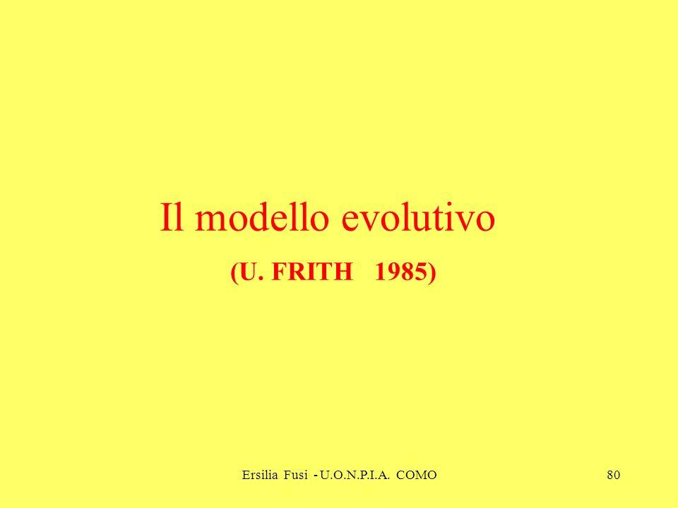 Il modello evolutivo (U. FRITH 1985)