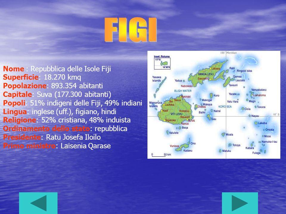 FIGI Nome : Repubblica delle Isole Fiji Superficie: 18.270 kmq