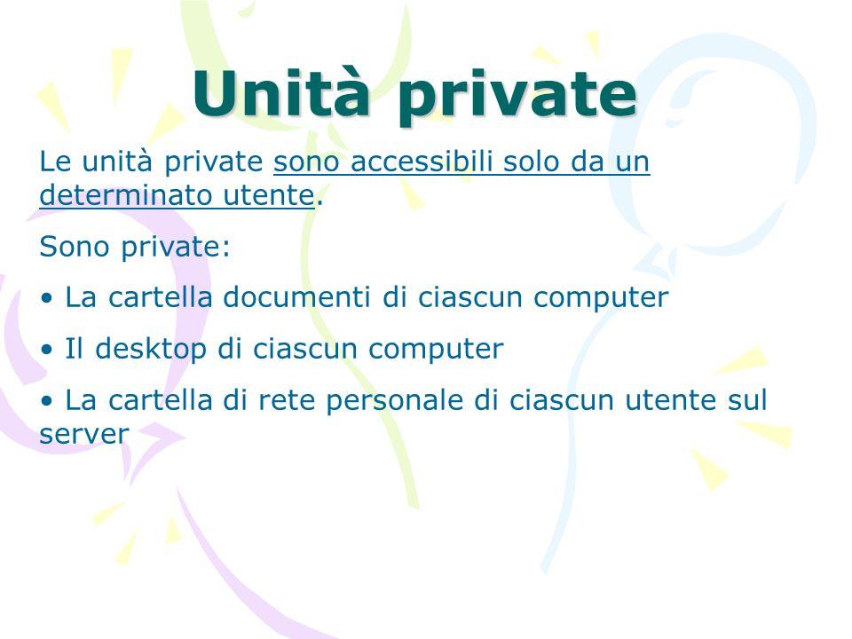 Unità private Le unità private sono accessibili solo da un determinato utente. Sono private: La cartella documenti di ciascun computer.
