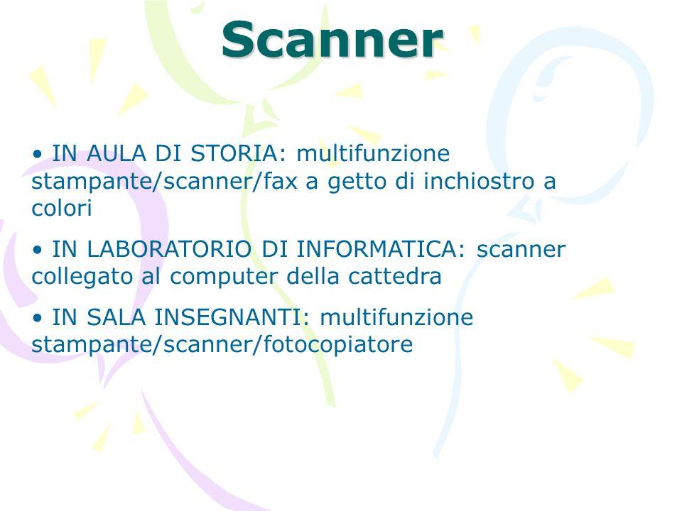 Scanner IN AULA DI STORIA: multifunzione stampante/scanner/fax a getto di inchiostro a colori.