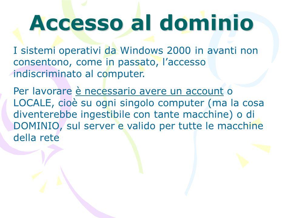 Accesso al dominio I sistemi operativi da Windows 2000 in avanti non consentono, come in passato, l'accesso indiscriminato al computer.