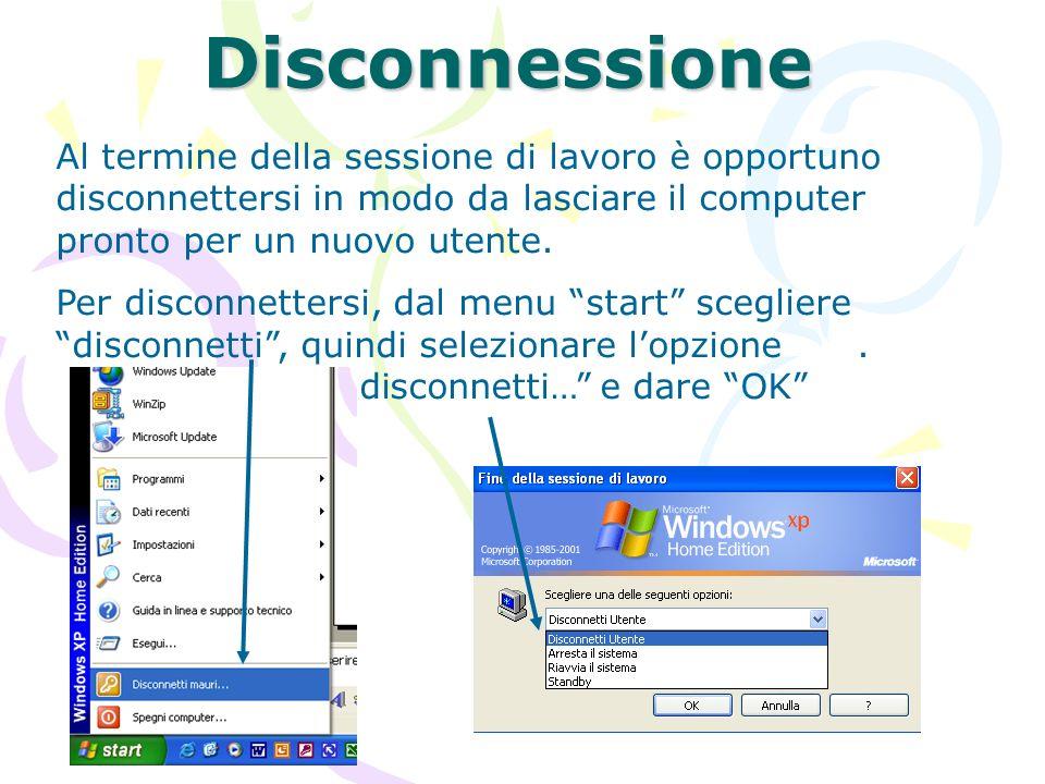 DisconnessioneAl termine della sessione di lavoro è opportuno disconnettersi in modo da lasciare il computer pronto per un nuovo utente.