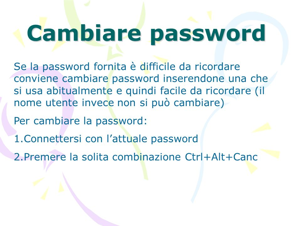 Cambiare password