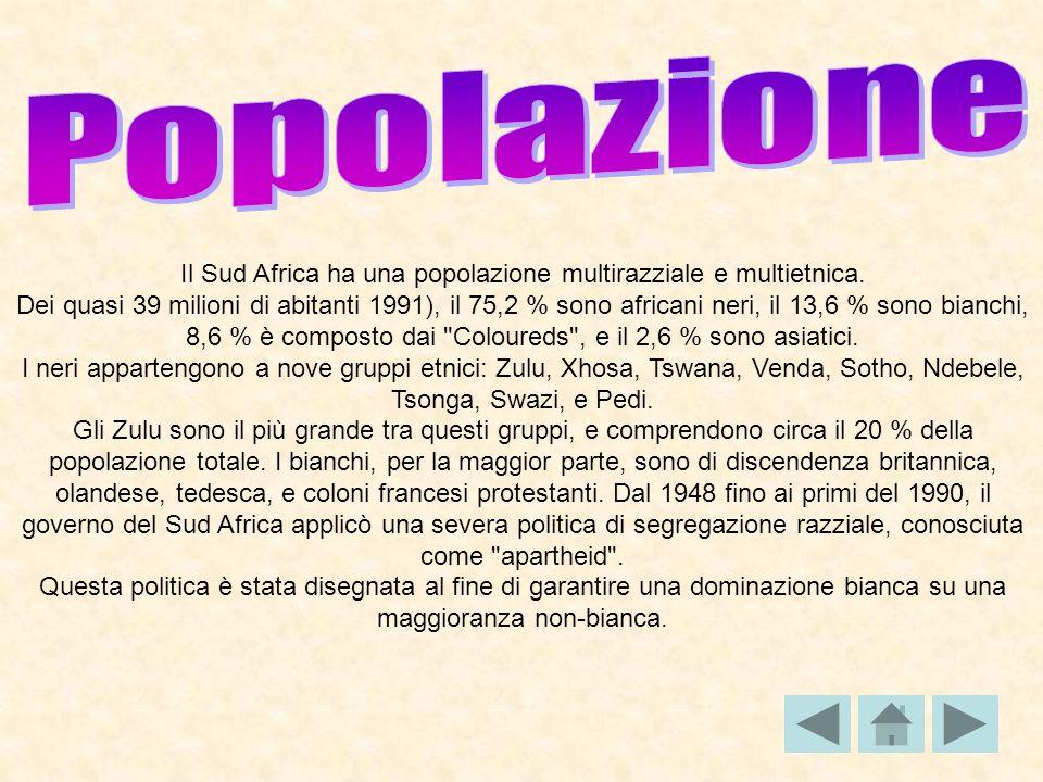 Il Sud Africa ha una popolazione multirazziale e multietnica.