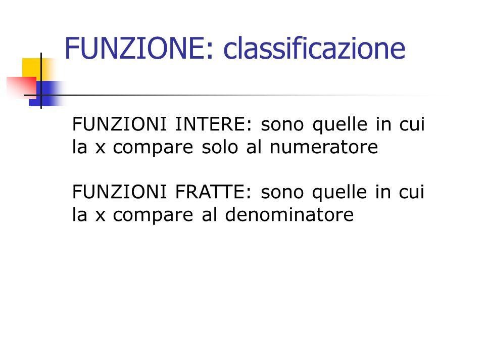FUNZIONE: classificazione