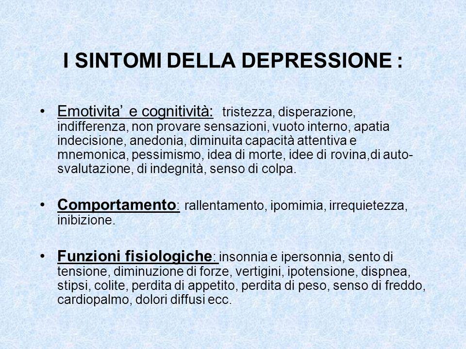I SINTOMI DELLA DEPRESSIONE :
