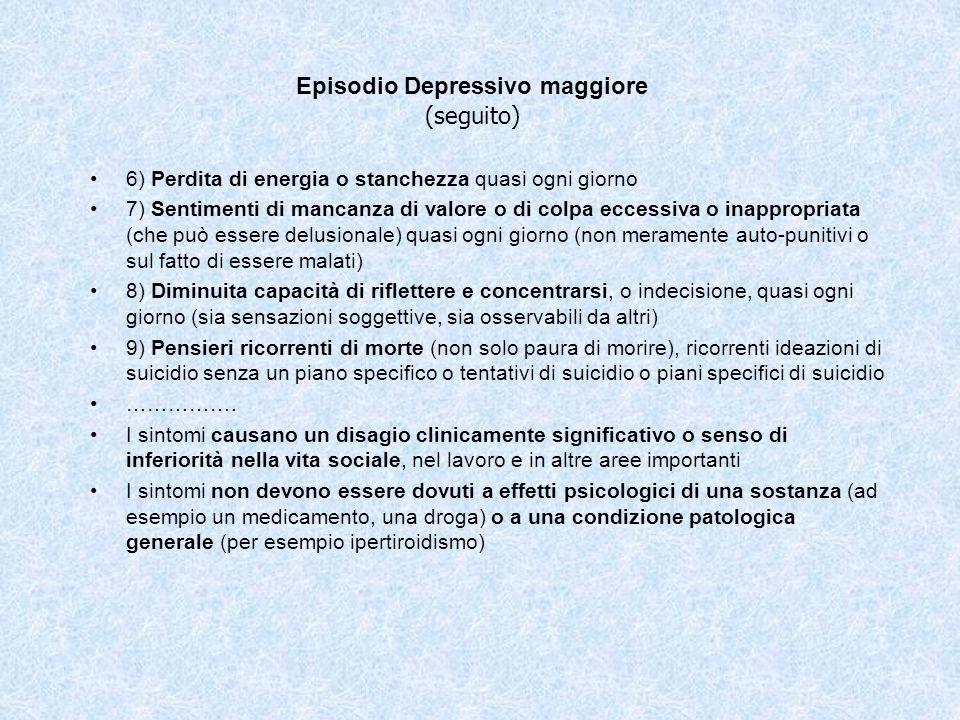 Episodio Depressivo maggiore (seguito)