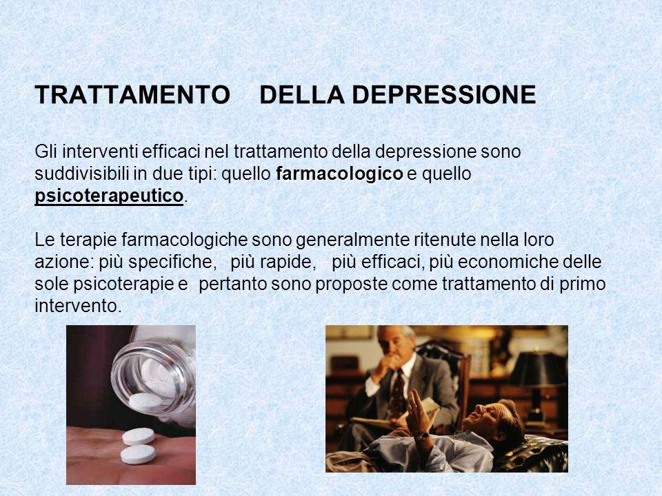 TRATTAMENTO DELLA DEPRESSIONE Gli interventi efficaci nel trattamento della depressione sono suddivisibili in due tipi: quello farmacologico e quello psicoterapeutico.