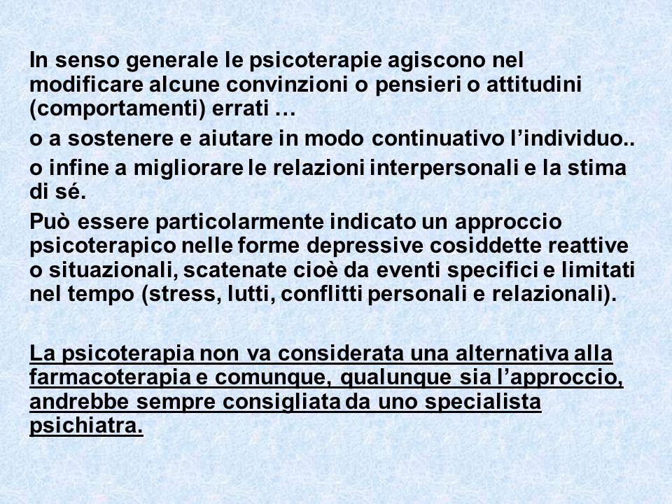 In senso generale le psicoterapie agiscono nel modificare alcune convinzioni o pensieri o attitudini (comportamenti) errati …