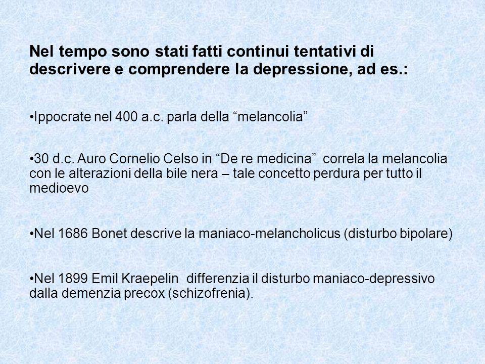 Nel tempo sono stati fatti continui tentativi di descrivere e comprendere la depressione, ad es.: