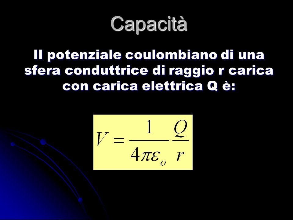 CapacitàIl potenziale coulombiano di una sfera conduttrice di raggio r carica con carica elettrica Q è: