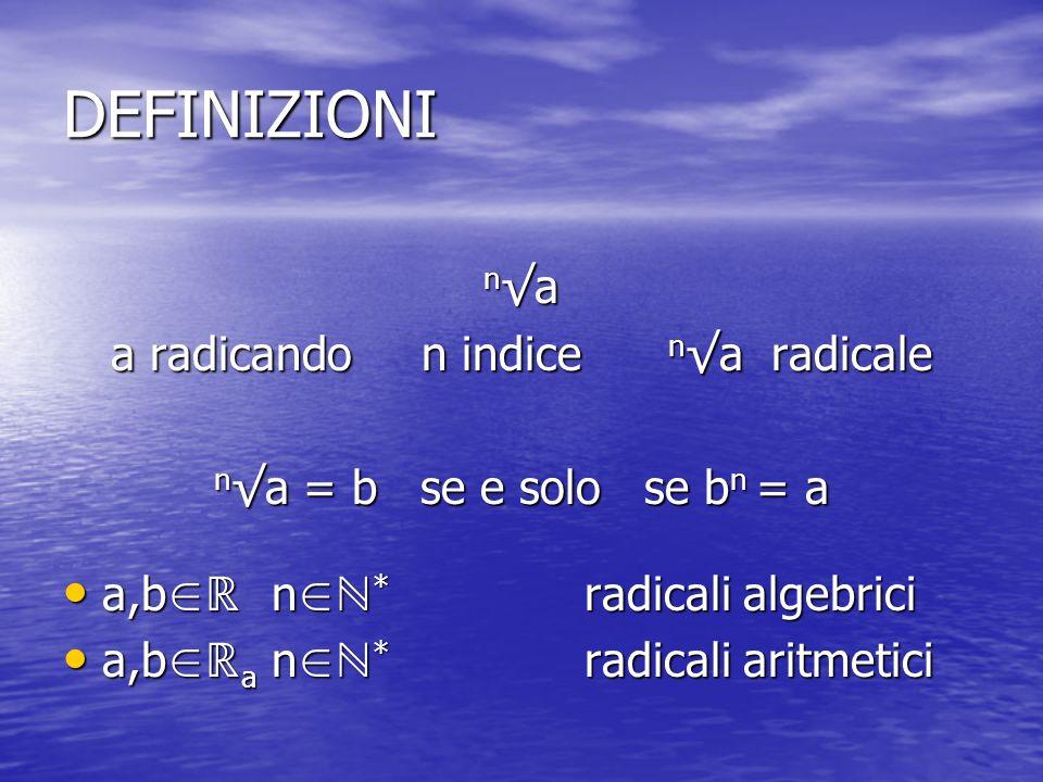 a radicando n indice n√a radicale