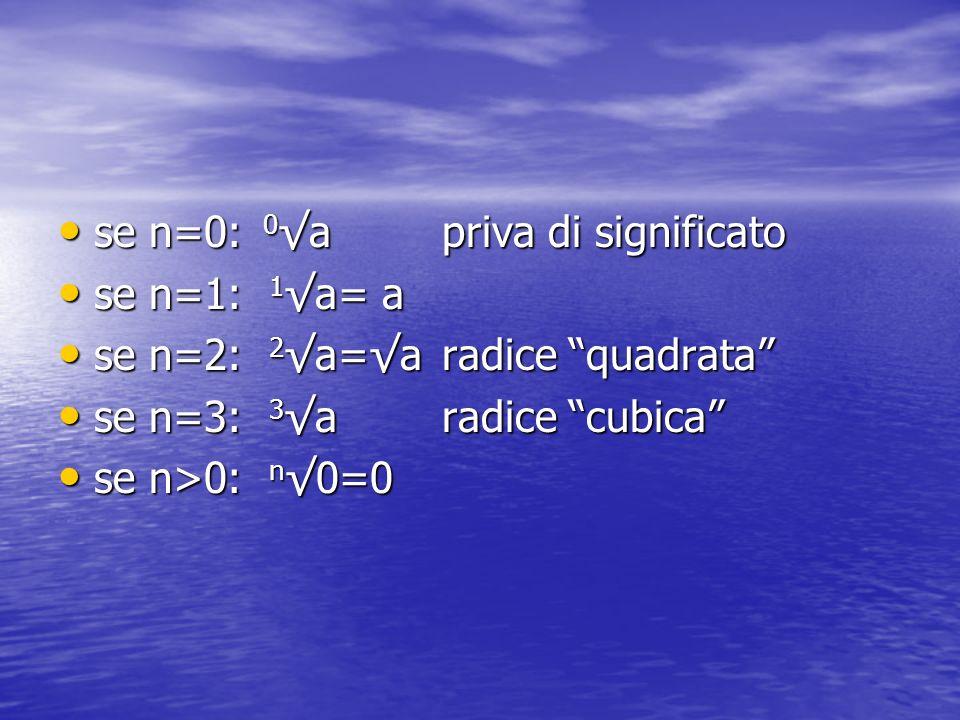 se n=0: 0√a priva di significato