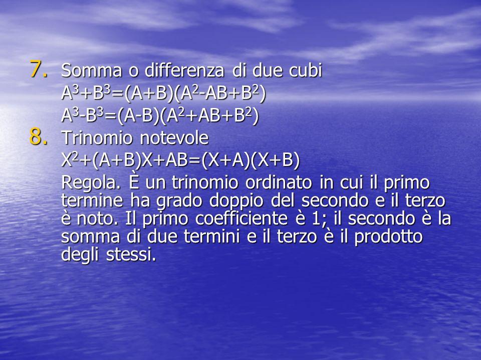 Somma o differenza di due cubi A3+B3=(A+B)(A2-AB+B2)