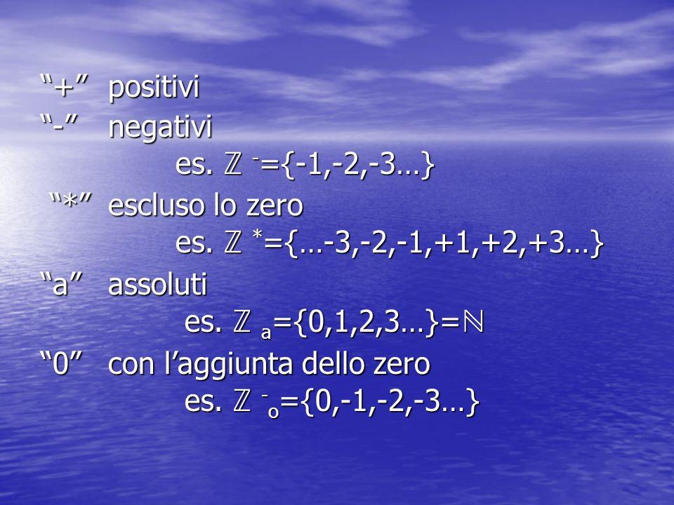 + positivi - negativi. es. ℤ -={-1,-2,-3…} * escluso lo zero. es. ℤ *={…-3,-2,-1,+1,+2,+3…}