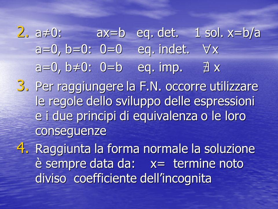 a≠0: ax=b eq. det. 1 sol. x=b/a