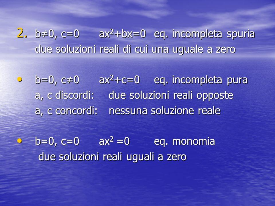 b≠0, c=0 ax2+bx=0 eq. incompleta spuria