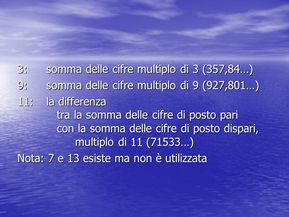 3: somma delle cifre multiplo di 3 (357,84…)