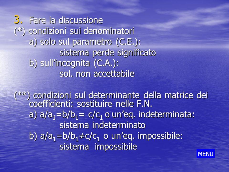 (*) condizioni sui denominatori a) solo sul parametro (C.E.):