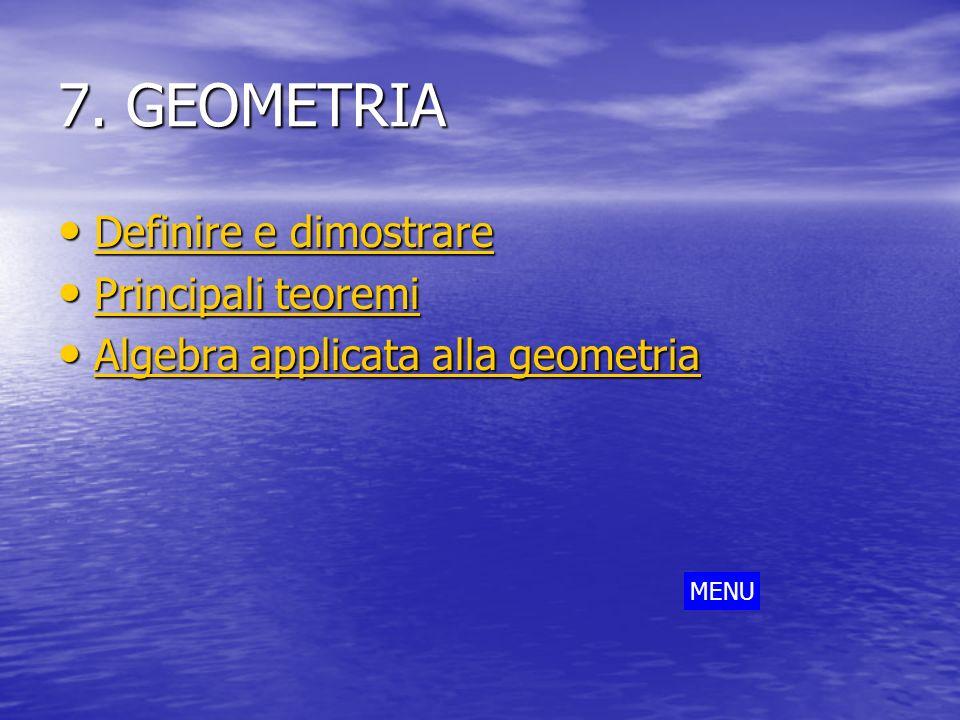 7. GEOMETRIA Definire e dimostrare Principali teoremi