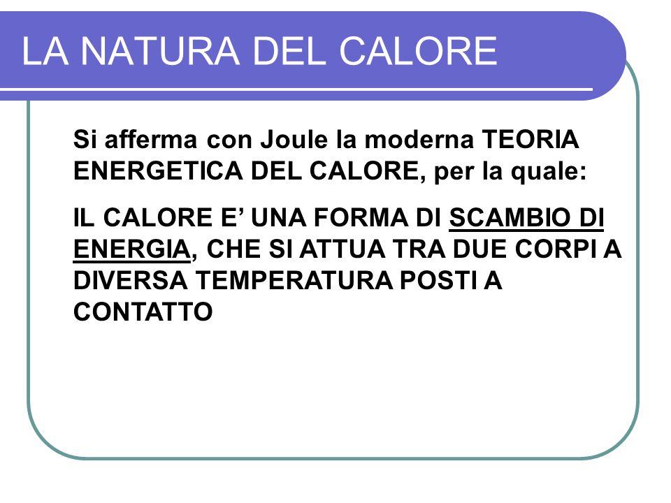 LA NATURA DEL CALORE Si afferma con Joule la moderna TEORIA ENERGETICA DEL CALORE, per la quale: