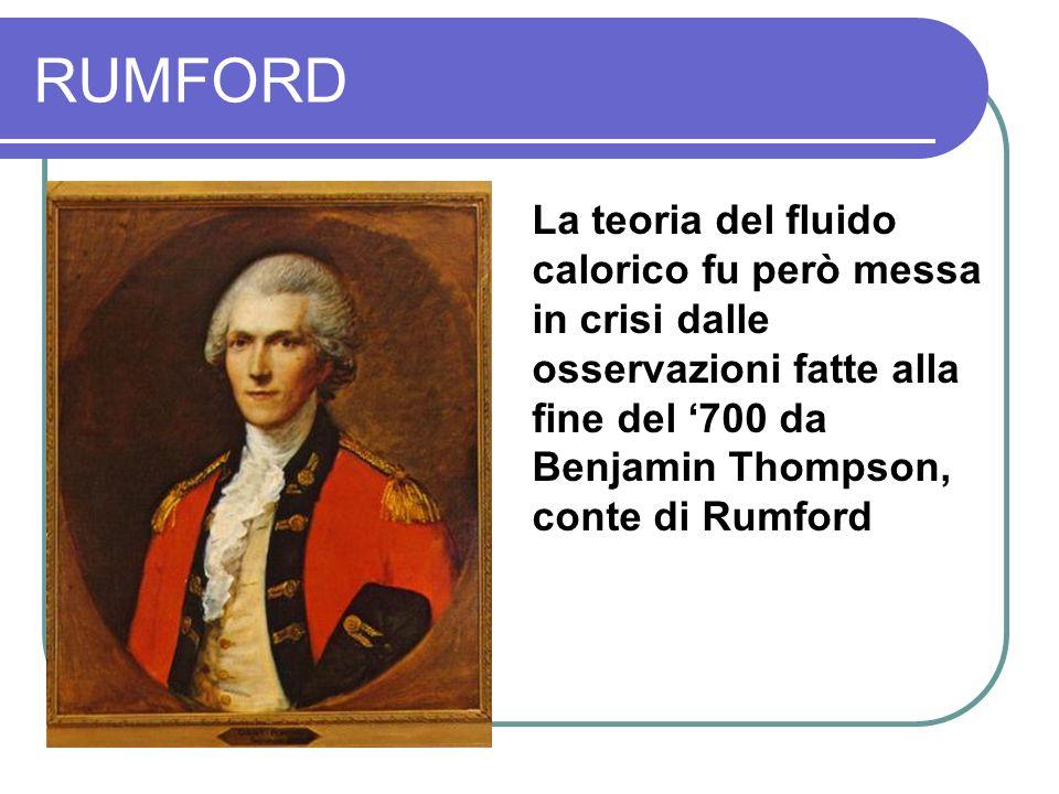 RUMFORD La teoria del fluido calorico fu però messa in crisi dalle osservazioni fatte alla fine del '700 da Benjamin Thompson, conte di Rumford.