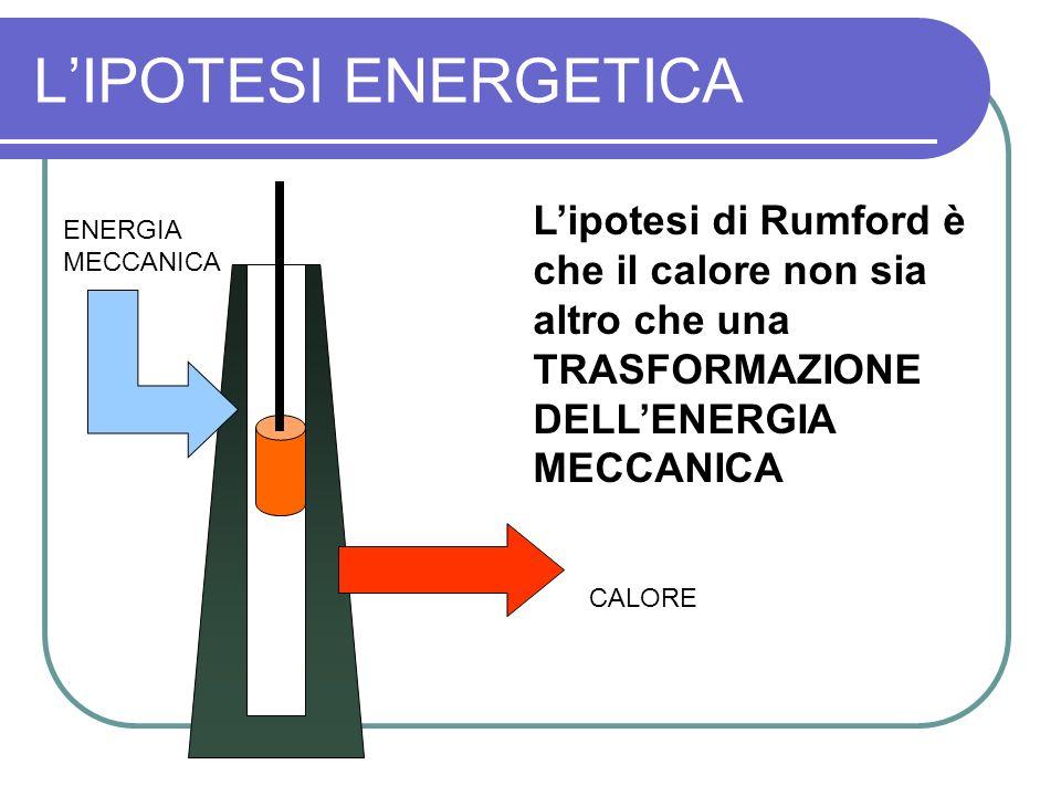 L'IPOTESI ENERGETICA L'ipotesi di Rumford è che il calore non sia altro che una TRASFORMAZIONE DELL'ENERGIA MECCANICA.