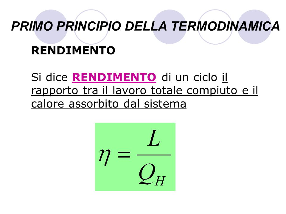 PRIMO PRINCIPIO DELLA TERMODINAMICA