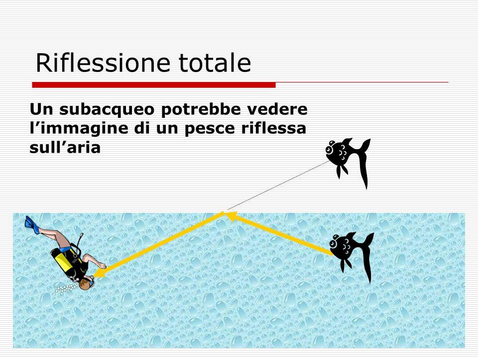 Riflessione totale Un subacqueo potrebbe vedere l'immagine di un pesce riflessa sull'aria