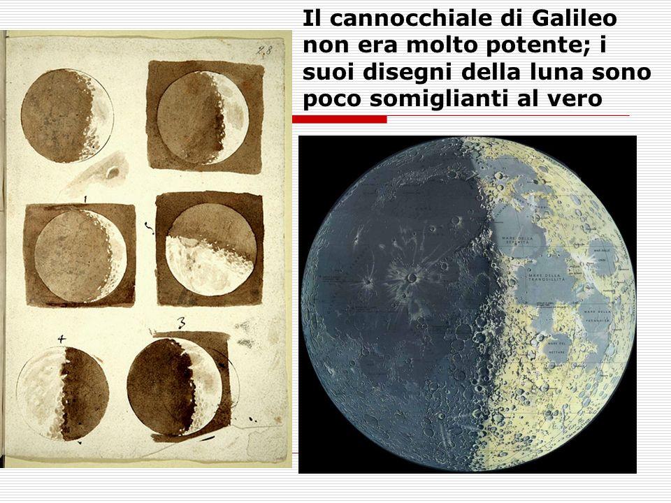 Il cannocchiale di Galileo non era molto potente; i suoi disegni della luna sono poco somiglianti al vero