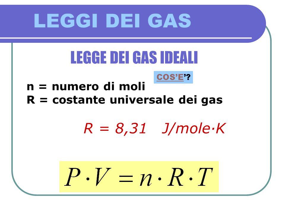 LEGGI DEI GAS LEGGE DEI GAS IDEALI n = numero di moli