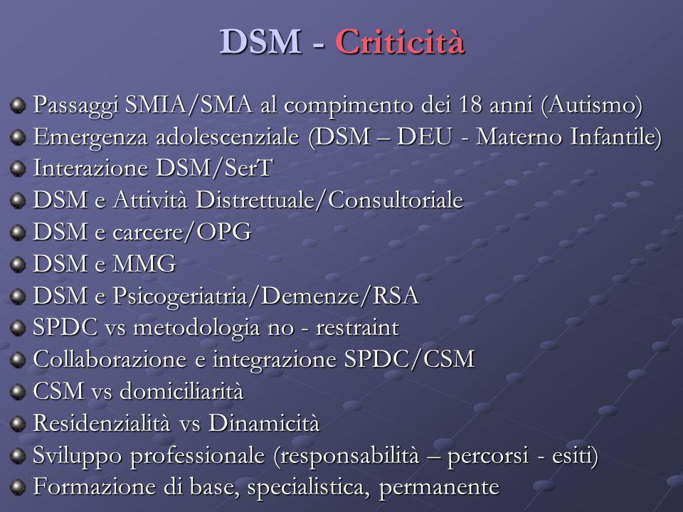 DSM - Criticità Passaggi SMIA/SMA al compimento dei 18 anni (Autismo)