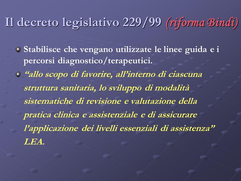 Il decreto legislativo 229/99 (riforma Bindi)