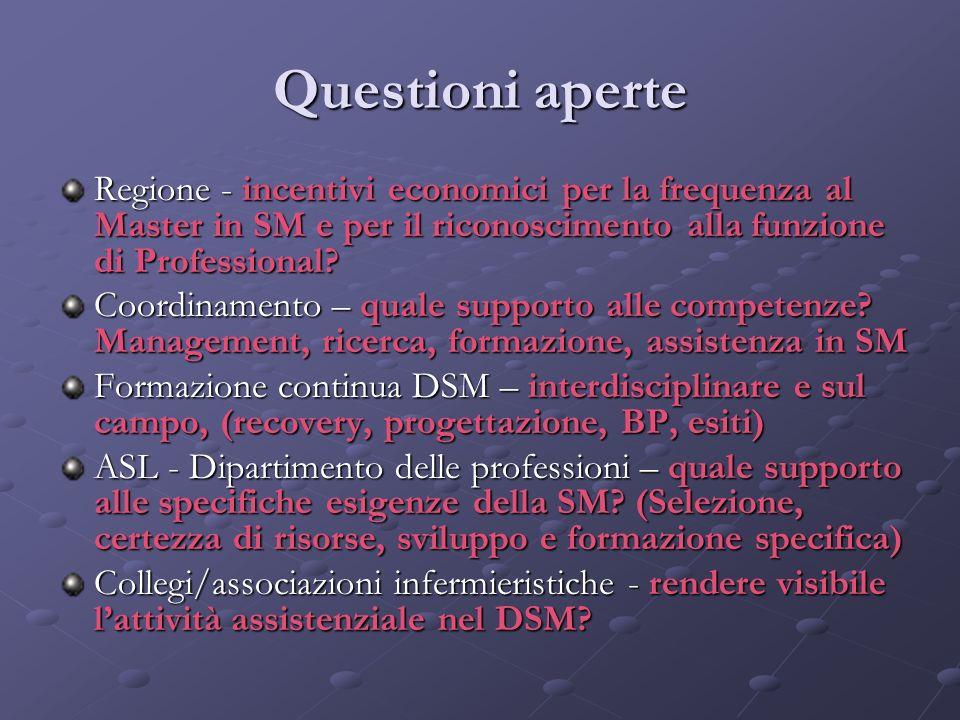 Questioni aperte Regione - incentivi economici per la frequenza al Master in SM e per il riconoscimento alla funzione di Professional