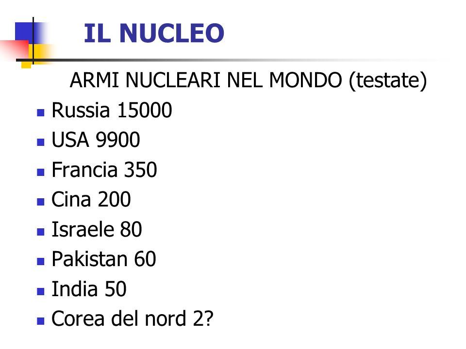 ARMI NUCLEARI NEL MONDO (testate)