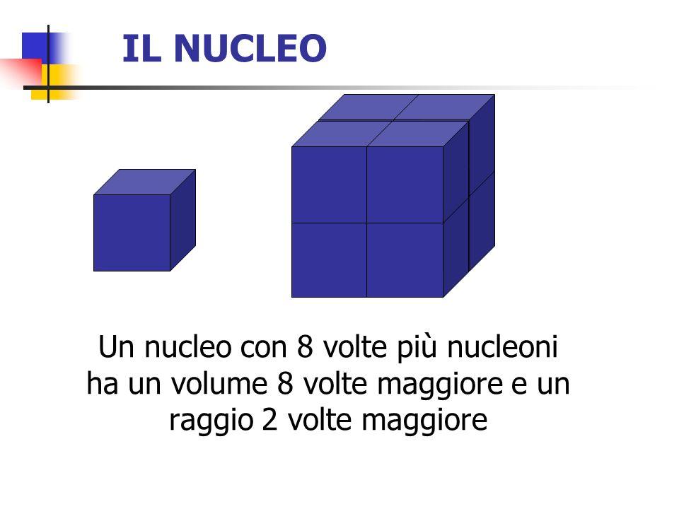 IL NUCLEO Un nucleo con 8 volte più nucleoni ha un volume 8 volte maggiore e un raggio 2 volte maggiore.