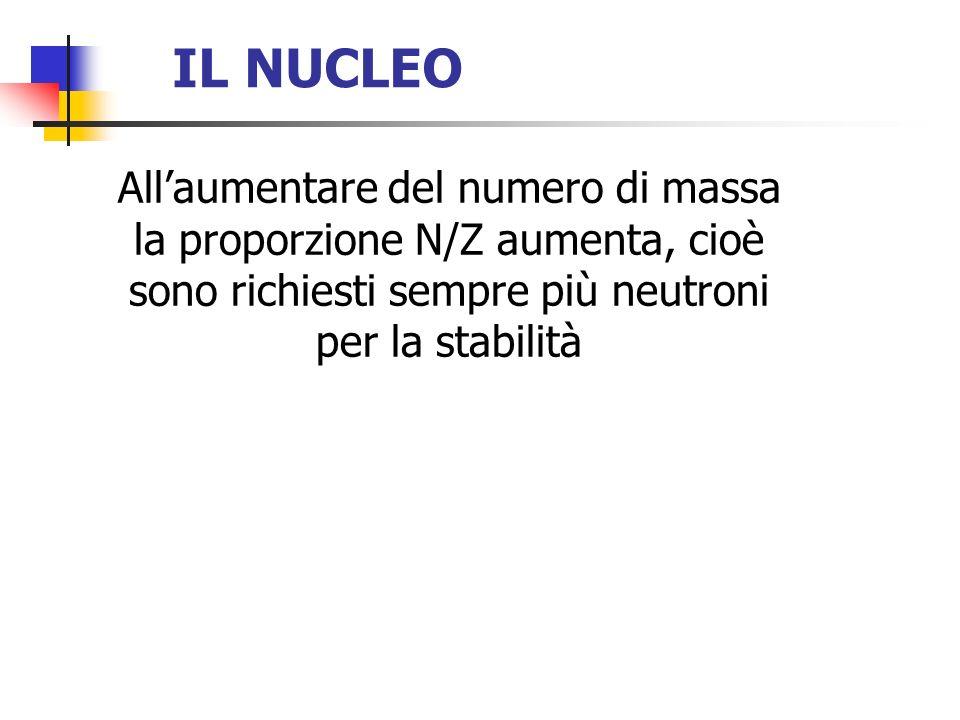 IL NUCLEO All'aumentare del numero di massa la proporzione N/Z aumenta, cioè sono richiesti sempre più neutroni per la stabilità.