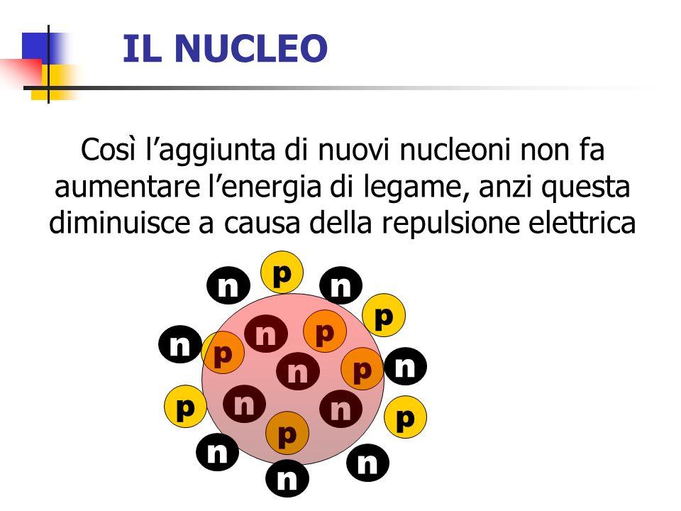 IL NUCLEO Così l'aggiunta di nuovi nucleoni non fa aumentare l'energia di legame, anzi questa diminuisce a causa della repulsione elettrica.