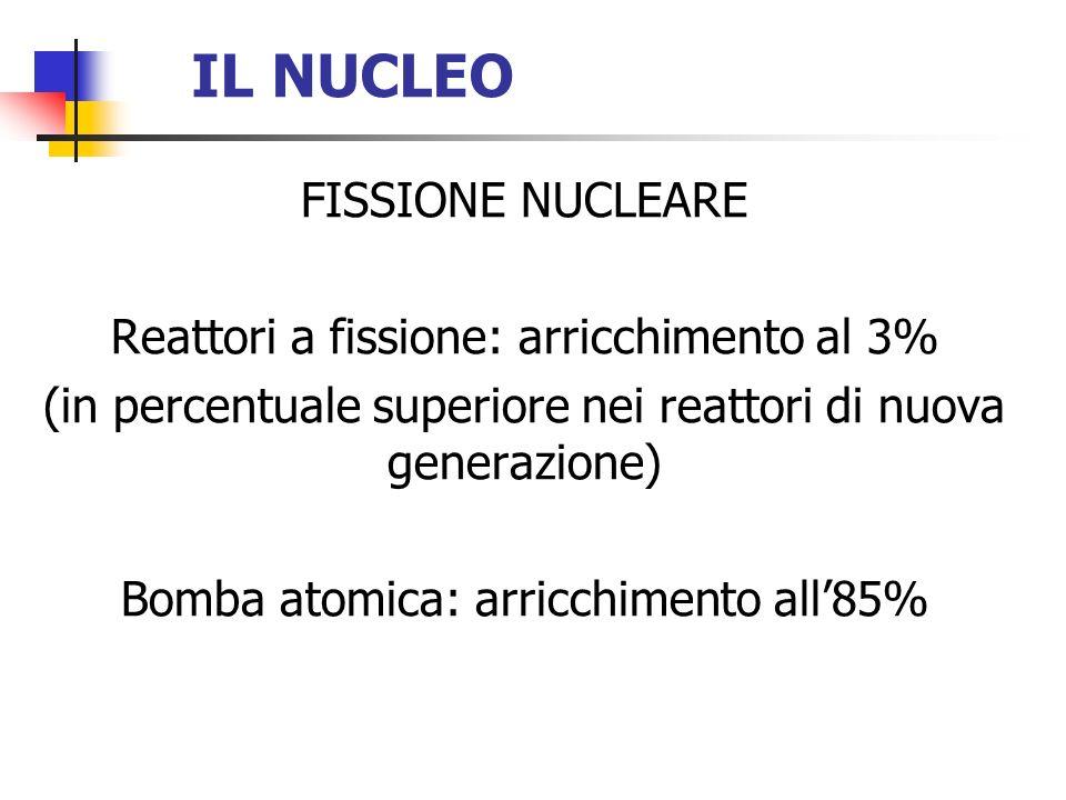 IL NUCLEO FISSIONE NUCLEARE Reattori a fissione: arricchimento al 3%