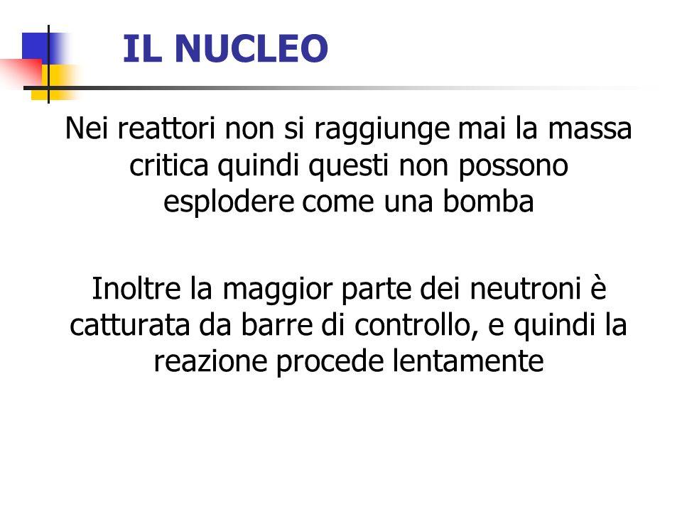 IL NUCLEO Nei reattori non si raggiunge mai la massa critica quindi questi non possono esplodere come una bomba.