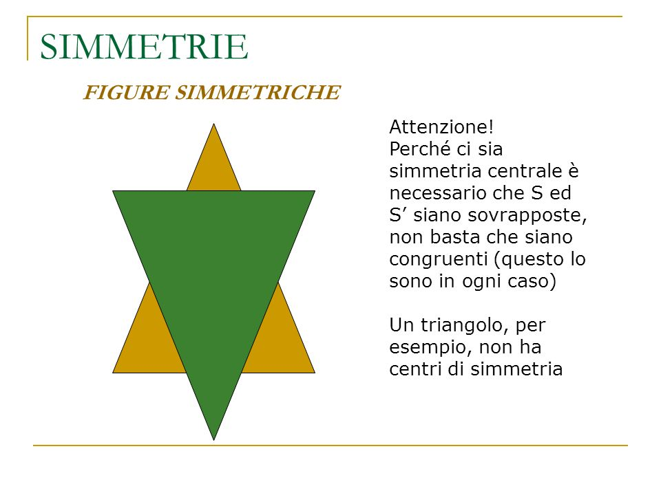 SIMMETRIE FIGURE SIMMETRICHE Attenzione!