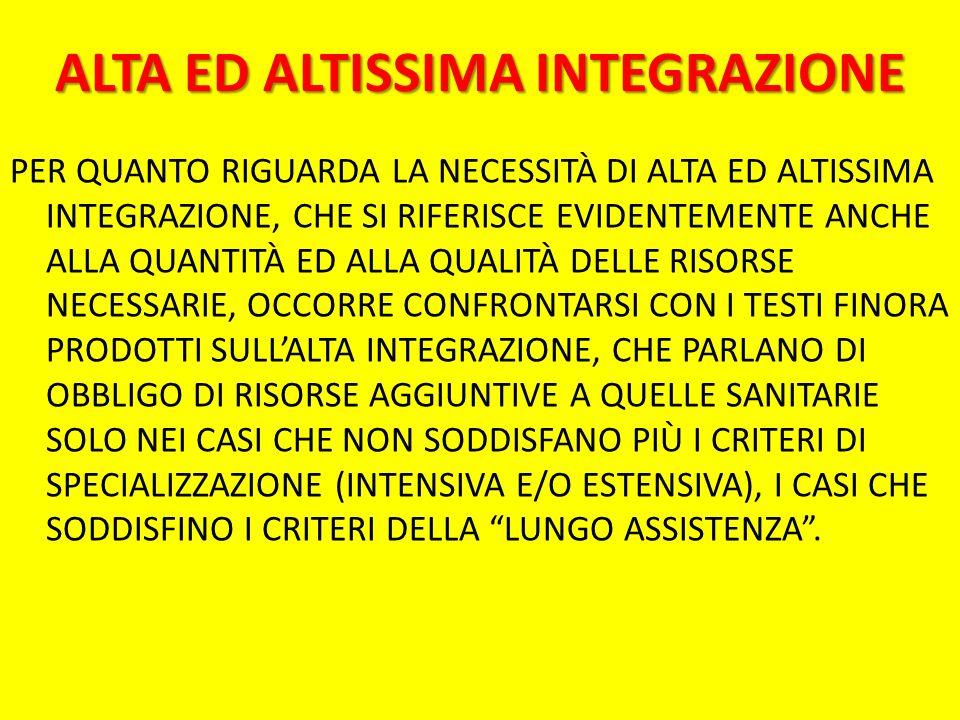 ALTA ED ALTISSIMA INTEGRAZIONE