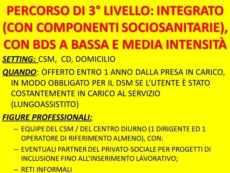 PERCORSO DI 3° LIVELLO: INTEGRATO (CON COMPONENTI SOCIOSANITARIE), CON BDS A BASSA E MEDIA INTENSITÀ