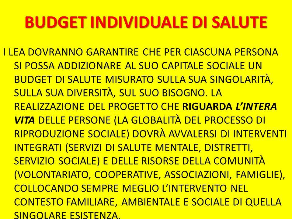 BUDGET INDIVIDUALE DI SALUTE