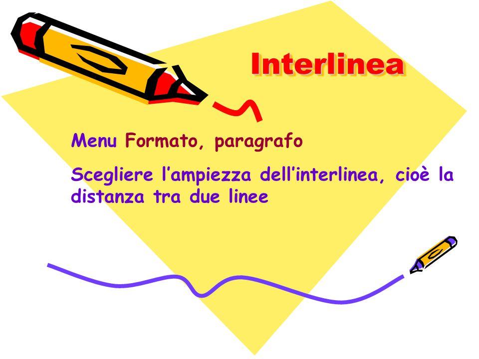 Interlinea Menu Formato, paragrafo